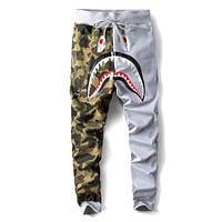 Bape Aape Autumn Winter Trending Women Men Stylish Shark Mouth Print Drawstring Sport Pants Trousers Sweatpants Grey