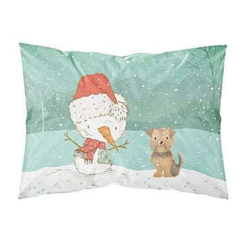 Yorkie Natural Ears Snowman Christmas Fabric Standard Pillowcase CK2099PILLOWCASE