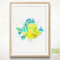 Flounder, Little Mermaid - Watercolor Art Print, Room Decor, Disney Little Mermaid Ariel Poster, Home Baby Nursery Wall Art
