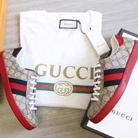 Gucci Women Men Grey+Red Soles Print Three Line Contrast Sneakers B104501-1 Red/Grey
