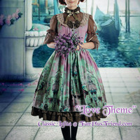 """Love Theme"": Classic Lolita Square Neckline Mixed Color Dress/OP & Brown Skirt Set*Short Version"