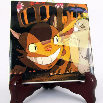 Studio Ghibli Totoro and the Catbus from My Neighbor Totoro fan art Ceramic Tile     HQ Hayao Miyazaki art collectibles M3