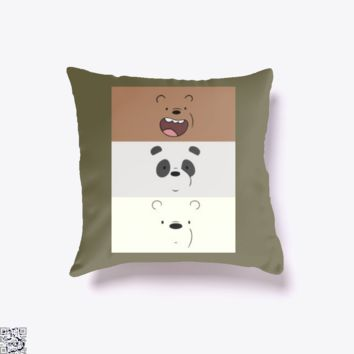 Color Stripes, We Bare Bears Throw Pillow Cover