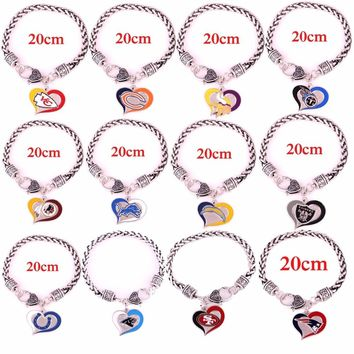 Chiefs Bears Vikings Titans Redskins Lions Chargers Raiders Colts Panthers 49ers New England Patriots Wheat chain heart bracelet