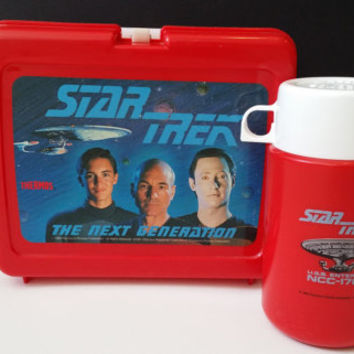 Vintage Star Trek The Next Generation Plastic Lunch Box with USS Enterprise NCC 1701-D Thermos
