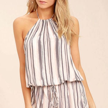 Beach Bound Blush Print Halter Romper