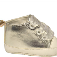true ziggles shiny silver baby crib shoe Case of 12