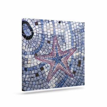 "Debbra Obertanec ""Mosaic Starfish"" Nautical Blue Canvas Art"