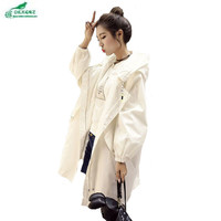 0KXGNZ Spring Coat 2017 Women Leisure Zipper Trench Coat Long Loose Letter Printed Hooded Windbreaker College Solid Raincoat Y19