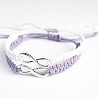 Infinity Friendship Bracelets Lavender and White Hemp