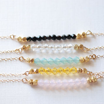 Short Gemstone Bar Necklaces, Dainty 14k Gold Fill or Sterling Silver Silver / Delicate Crystal Necklace Bar