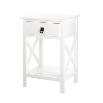 Modern White Side Table, Mdf Hardwood Side Tables With Storage