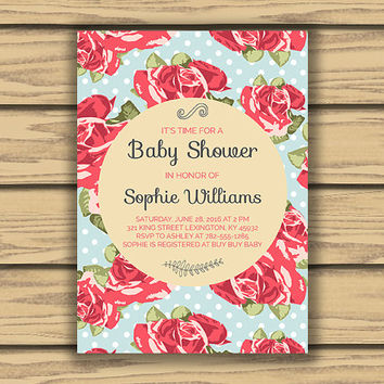 Pink Roses Baby Or Bridal Shower Invitation, 5x7 Inch, Printable, Pink Rose Pattern, Blue Polka Dots, You're Invited, Classy Design