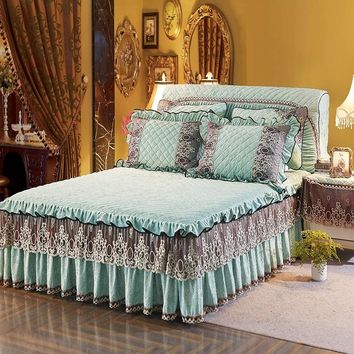 Blue Pink Green Bedskirt Thick fleece Lace Princess Bed cover Bedspread Bedding sets Full Queen King size couvre lit