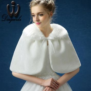 Dingaozlz elegant winter wedding bow sleeveless women clothing shawl bridesmaid shawl coat warm cloak plush shawl short jacket