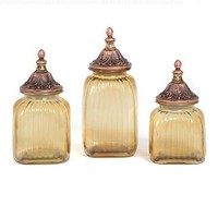3 Piece Set Elegant Tuscan Antiqued Amber Ribbed Glass Canisters Jar Brushed Finial Bronze Lids