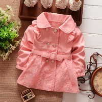 Girls Outerwear, Coat, NEW Spring Double Breasted Lace Coat Outwear Belt
