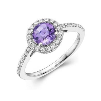 Sterling Silver Amethyst and CZ Halo Ring