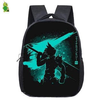 Anime Backpack School kawaii cute Final Fantasy School Backpack Kids Book Bags Cloud Fluorescence Printing Small Kindergarten Backpack Children Gift Bags AT_60_4