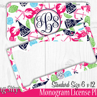 Lobster Party Monogram License Plate Frame Holder Metal Wall Sign Tags Personalized Custom Vanity Plate