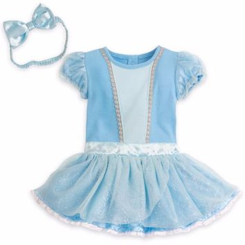 Disney Cinderella Baby Costume & Headband Girls Size 0 3 6 9 12 18 24 Months New