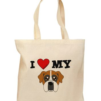 I Heart My - Cute Boxer Dog Grocery Tote Bag by TooLoud