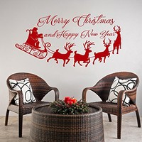 Wall Decal Merry Christmas Decals Happy New Year Vinyl Sticker Santa Claus Gifts Home Decor Art Wall Decor Nursery Baby Room Bedroom NS919