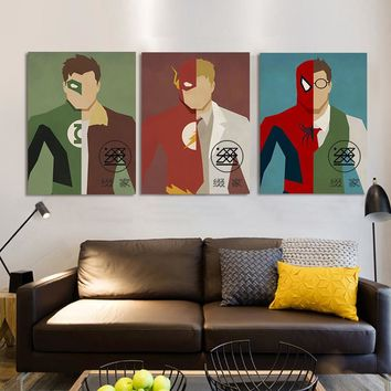 Frameless Marvel Heroes Printed Painting Oil Painting Living Room Home Wall Decor Artwork