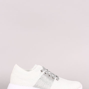 Qupid Knit Sparkly Lace Up Rigged Sneaker | UrbanOG
