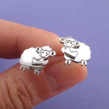Bighorn Sheep Ram with A Letter Shaped Stud Earrings in Silver