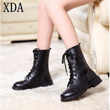 XDA 2017 new Women's Ladies Fashion Round Toe Cool Short Army boots Flat Winter Autumn Shoes Lace-up Black PU Leather Antislip
