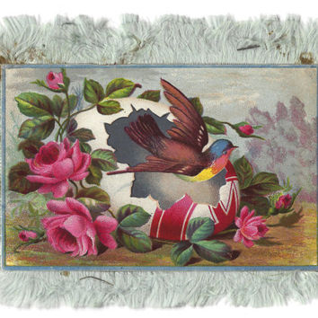 Easter Card, Antique Victorian Easter Card, Circa 1890s Silk Trim Card, Antique Greeting Card, Floral Card