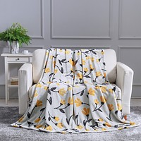 DaDa Bedding Soft Fleece Throw Blanket, Fresh Sunshine Yellow Fleur Floral Silver/Grey Background (XY1011)