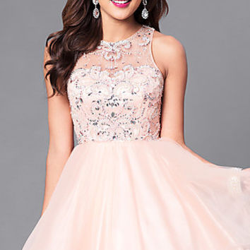 Illusion Sweetheart Fit and Flare Homecoming Dress