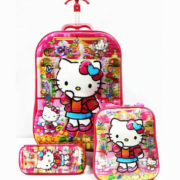 16 inch  kids suitcase  5D cartoon hello kitty luggage sets  (lunch box + pen boxes+trolley luggage ) travel luggage