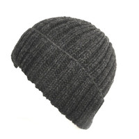 Charcoal Gray Hat, Men & Teen Boys, Hand Knit Wool, Watch Cap, Ribbed Beanie Toque Stocking