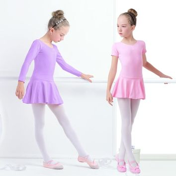 Cotton Ballet Dance Dress Toddler Girls Child Ballet Class Dance Clothes Training Dancewear
