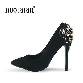 Brand 2018 Womens High Heels Shoes Luxury Designer Rhinestone Wedding Shoes Woman 12cm Pumps Women Zapatos Mujer