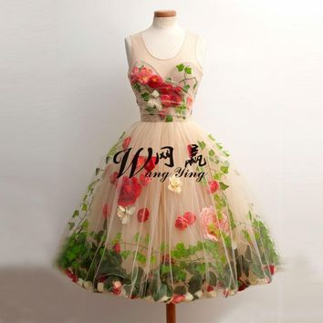 Country Style Ball Gown Cocktail Dress Teens Custom Made Flower Short Mini Homecoming Dresses Vestidos Graduacion 2017 Cortos