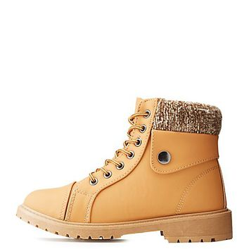Faux Shearing Lace-Up Boot | Charlotte Russe