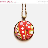 VALENTINES DAY SALE Hippie Psychedelic Necklace, Fabric Button Pendant, Bright Orange Red, Green Pink, Eco-friendly Jewelry, Boho Necklace