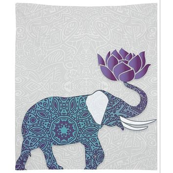 Purple Blue Elephant Tapestry Wall Hanging Indian With Lotus Flower