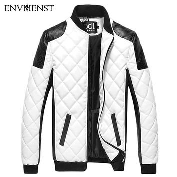 2017 winter men's zipper design leather Panka Coat men Slim PU Patchwork Warm Jackets High quality men coat black/white M-5XL