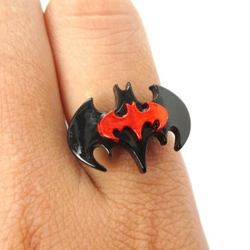 Batman Bat Shaped Silhouette Logo Adjustable Ring in Red on Black