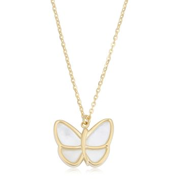 """14K Yellow Gold Mother Of Pearl Butterfly Pendant Necklace, 18"""""""