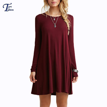 Solid Long Sleeve Casual Loose Short Dresses Female Beautiful Cheap Round Neck High Street Hot Sale Above Knee Derss