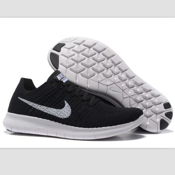 Nike free RN flynit running sneakers Sport Casual Shoes Sneakers Black white hook