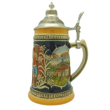 German Gift Beer Mug Alpine Pub Metal Lid