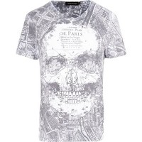 River Island White Paris map skull print t-shirt