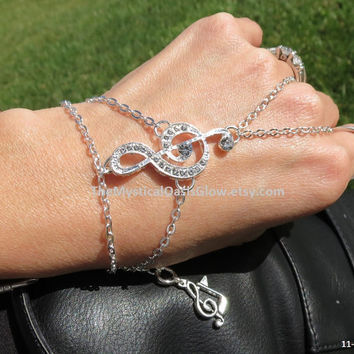 Slave Bracelet, Ring Bracelet, Hand Chain, Music Note, Music Jewelry, Treble Clef Bracelet, G-Clef, Music Ring, Treble Clef Jewelry, Ring